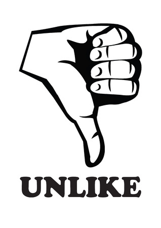 Human hand in rude thumbs down gesture with text unlike in black and white. Vector illustration.
