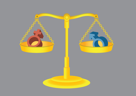 Male and female gender symbols on retro golden weighing scale in equilibrium. Cartoon vector illustration for concept on gender equality, isolated on grey background.