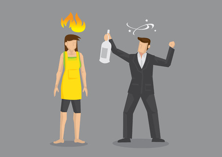 Wife feeling angry and pissed off at drunk husband. Cartoon vector illustration on domestic problems, isolated on grey background.