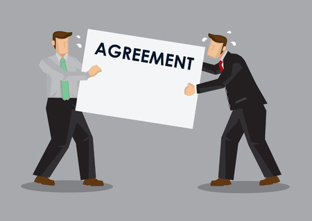 Business professionals having dispute over agreement contract. Cartoon vector illustration on business disputes concept. Stock Illustratie