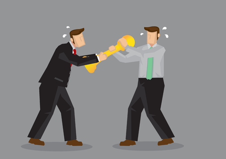 Two business professionals fighting over a golden trophy. Cartoon vector illustration isolated on gray background.