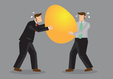 Business professionals fighting over a huge golden egg. Cartoon vector illustration for business metaphor isolated on grey background.