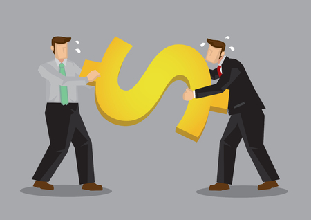 Business professionals fighting a huge golden dollar symbol. Creative vector cartoon illustration on concept for conflict over money matters.