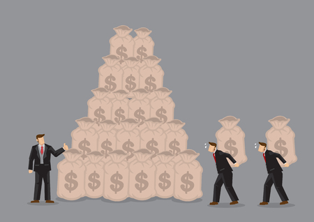 Workers carrying bags of money on their back to build the wealth of rich businessman. Creative vector illustration on concept for using others to make money.