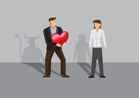 Cartoon man with shadow of devil holding the heart of the woman. Vector illustration for concept on deception in romance and relationship.