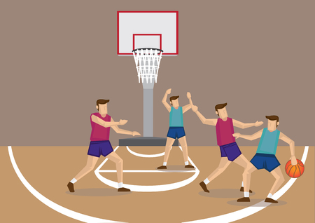 Cartoon vector illustration of a group of four young man playing basketball Illustration