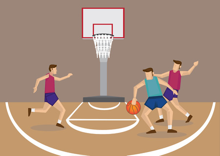 Cartoon vector illustration of a group of 3 basketball players in action