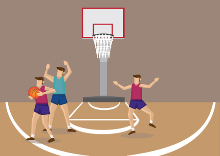 Basketball player blocked by opponent, trying to pass ball to unguarded teammate. Stock Vector - 96857883