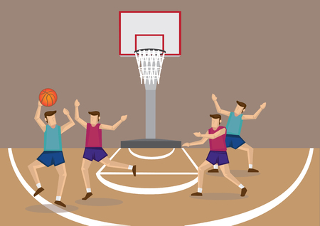 Vector cartoon illustration of red and blue team basketball players playing basketball