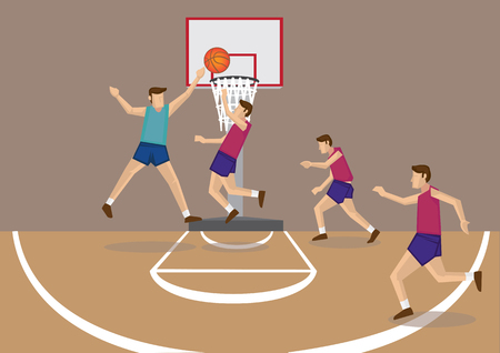 Basketball player releasing a short jump shot with defenders trying to block the goal. Illustration