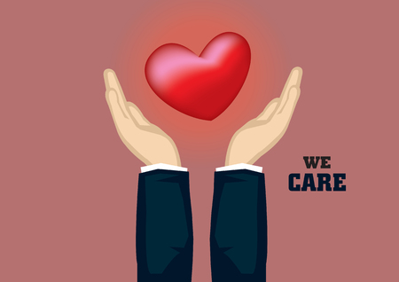 Hands in business suit holding embracing red heart symbol with text We Care. Vector cartoon illustration for corporate social responsibility concept.