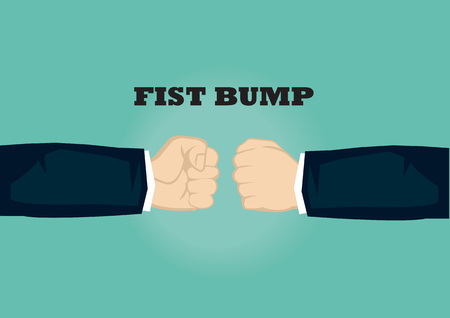 Hands from two sides with clenched fists bumping. Vector cartoon isolated for fist bump gesture isolated on plain green background. Illustration