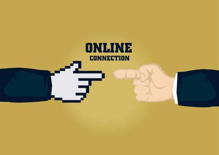 Human finger touching pixelated digital finger. Creative vector business illustration on digital connection for businesses concept isolated on plain background. Illustration