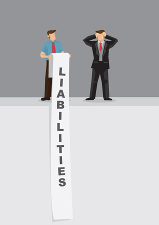 Cartoon businessman stressed out by long list of liabilities. Creative vector illustration on liability problem metaphor.