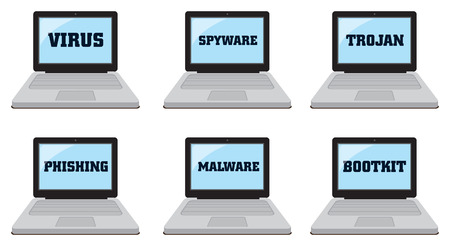 Computer laptop icons with computer security and IT risk related text on blue screen. Set of six vector illustrations isolated on white background.