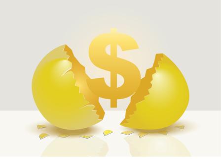 Golden money sign emerging from a cracked open golden egg. Creative vector illustration for concept on golden egg metaphor isolated on grey background