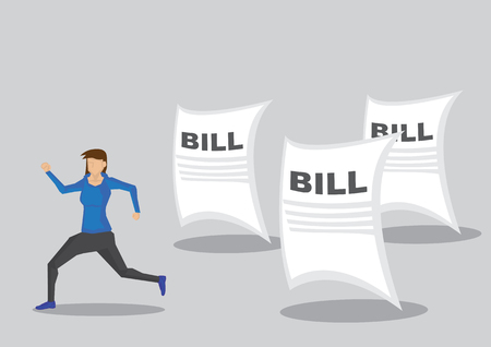 Cartoon woman character running away from paper documents titled Bill.