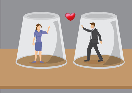 Cartoon man and woman in love but each is trapped in own invisible protective glass wall.