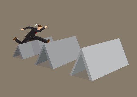 Professional businessman jumps over series of blank obstacle blocks with copy space for custom text. Cartoon vector illustration on overcoming challenges concept. Stock Illustratie
