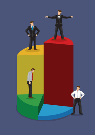 Cartoon businessman stand on different levels of pie chart. Creative vector business illustration on market share in businesses isolated on blue background.