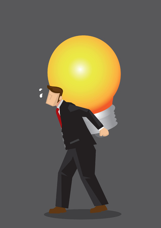 Cartoon businessman carries a giant light bulb on his back, feeling tired and stressed. Creative vector illustration on business metaphor for carrying out a big business idea. Vectores