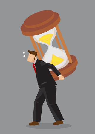 Cartoon businessman carrying a heavy giant hourglass on his back and feeling tired