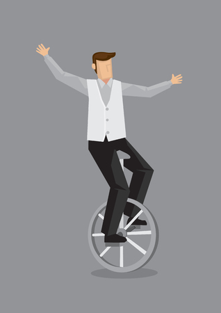 Vector illustration of cartoon man balancing on unicycle with open arms isolated on grey background.