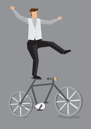 Cartoon man balancing with one leg on the saddle of bicycle vector illustration