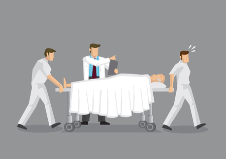 Health Professionals transporting elderly patient on mobile hospital bed with doctor directing at the side. Cartoon vector illustration on health and medical emergency department service. Illustration