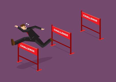 Biznesmen przeskakując serię przeszkód z tekstem wyzwanie na nich. Ilustracja kreskówka wektor dla koncepcji na pokonywanie wyzwań.
