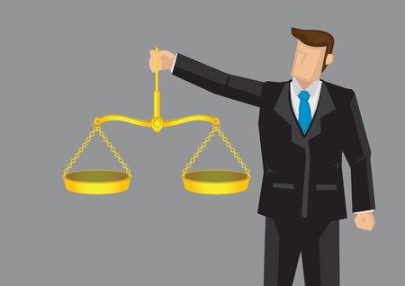 Cartoon man in formal suit holding golden balance scales, like scales of justice vector illustration for concept on upholding professional ethics isolated on gray background.