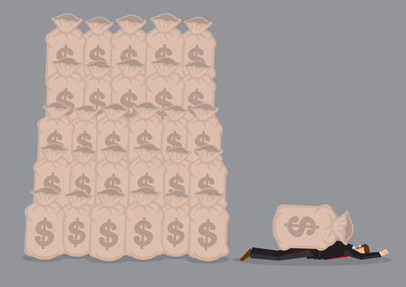 Business profession lying flat face down on ground, killed by a bag of money. Cartoon vector illustration on business financial metaphor isolated on grey background.