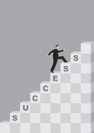 Businessman climbing up steps of the Success stairs. Creative vector illustration on taking strides to achieve to business success concept.