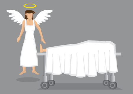 Female angel in white with wings and halo at the side of a dead body on deathbed covered in sheet. Cartoon vector illustration on after death experience isolated on plain background.