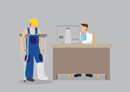 Cartoon worker character wearing yellow helmet and overall with leg in plaster cast uses crutches in seek medical treatment at doctor office. Vector illustration on work injury concept.