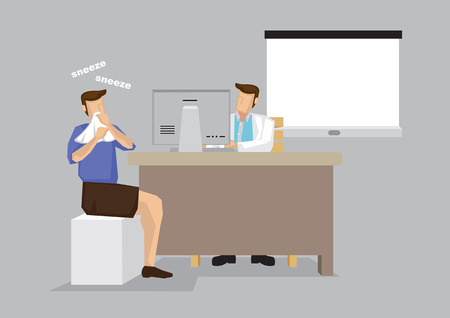 Sneezing patient in doctors office for treatment consultation. Cartoon vector illustration on medical and health care isolated on gray background. Illustration