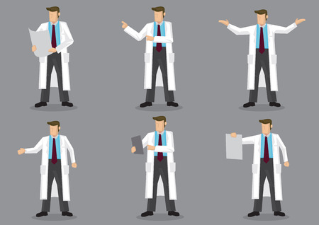 Set of six vector illustrations of cartoon man in long white coat or lab coat as doctor, scientist or laboratory researcher isolated on gray background. Illustration