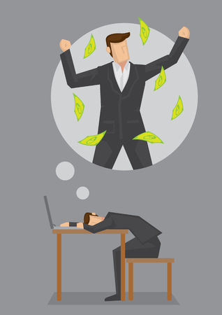 Businessman resting on his desk dreaming about becoming a rich man. Vector illustration on dreams and aspiration concept isolated on grey background. 일러스트