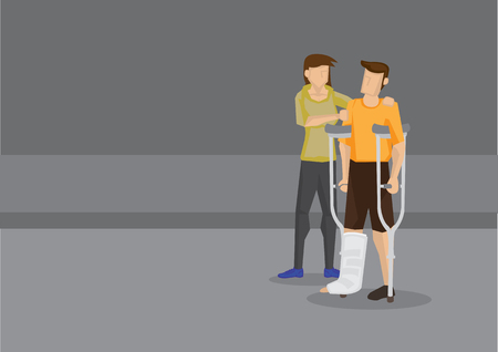 Vector illustration of a helpful woman giving support to man with crutch and leg in plaster cast.