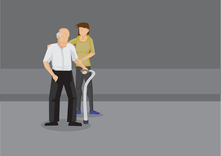 Young woman holding arm and shoulder of weak old man with a metal walking stick on the road.