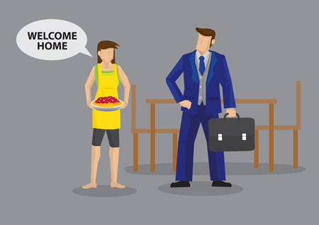 Homemaker wife serves food and greets Welcome Home to working husband. Cartoon vector illustration on traditional roles of working father and stay at home mom in typical family.