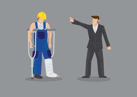 Karikaturmann als Arbeitgeber, der auf niedergeschlagenen Arbeiter mit Krücken- und Beinform zeigt.