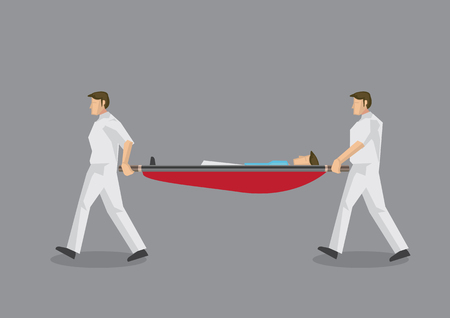 Two paramedic personnel carrying a stretcher with a man lying in it. Vector illustration on emergency medical services concept isolated on gray background.