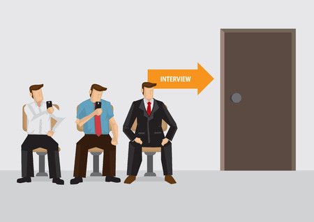 Three candidates sitting outside interview room waiting, vector illustration on job interview concept. Vettoriali