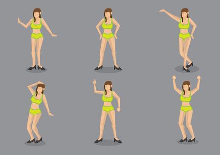 Set van zes vectorillustraties van cartoon brunette dragen sexy neon groene bikini in verschillende poses geïsoleerd op een grijze achtergrond.