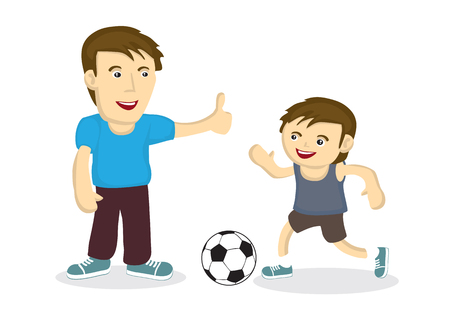 Father and son playing soccer together showing the strong bonding between them. Suitable for father's day celebration. Vector cartoon illustration.