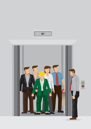 Businessman standing beside elevator full of people inside. Vector cartoon illustration of daily peak hour morning crowd at office elevator lobby isolated on grey background.
