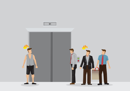 Vector illustration of group of frustration people waiting for elevator at lobby isolated on plain background.