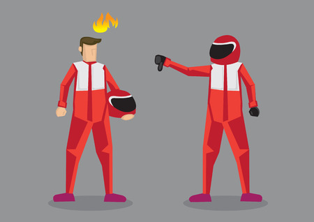 Cartoon car racer giving competitor a thumbs down. Vector cartoon illustration on offensive insult and putting down competitor concept isolated on grey background. Vectores