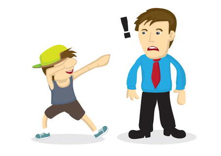 Illustration of a boy doing a dab and his father do not know what it is vector cartoon illustration.